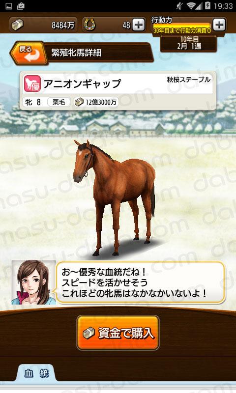 【ダビマス】アニオンギャップと見事・完璧な配合となる種牡馬を作成する