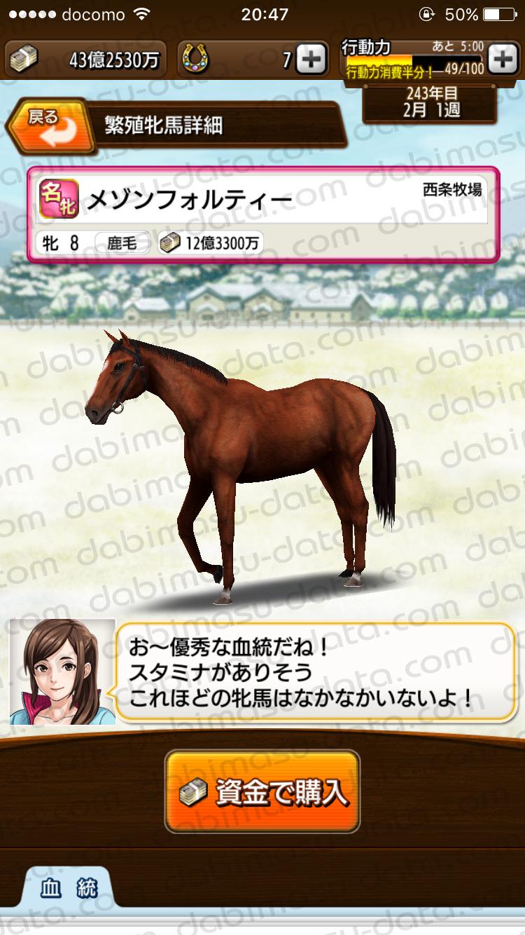 【ダビマス】ドリームジャーニーxメゾンフォルティーで生まれた牝馬に最適な種牡馬